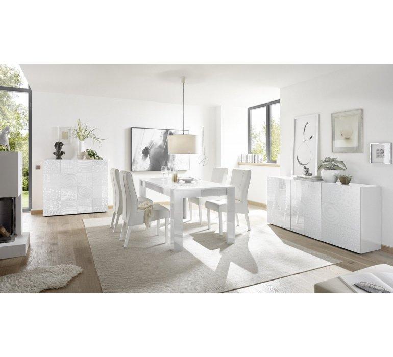 Table à manger blanc laqué avec motifs design VINTIMILLE