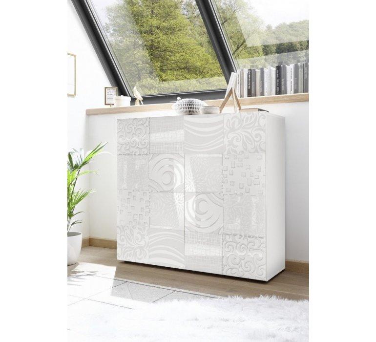 Buffet haut design blanc laqué avec motifs VINTIMILLE