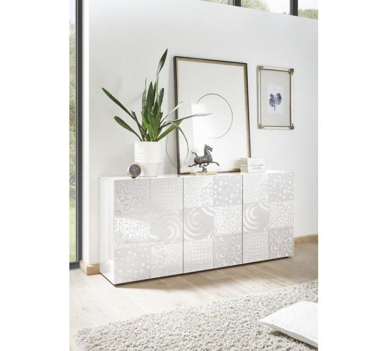 Buffet blanc laqué design avec motifs VINTIMILLE