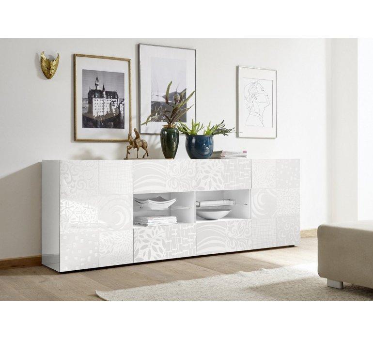 Enfilade design blanc laqué avec motifs VINTIMILLE