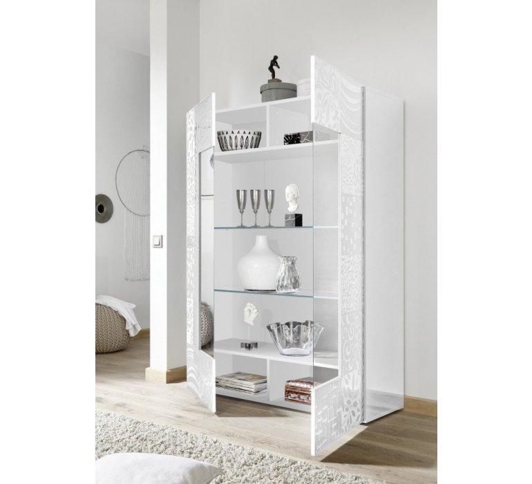Vaisselier blanc laqué avec motifs design VINTIMILLE
