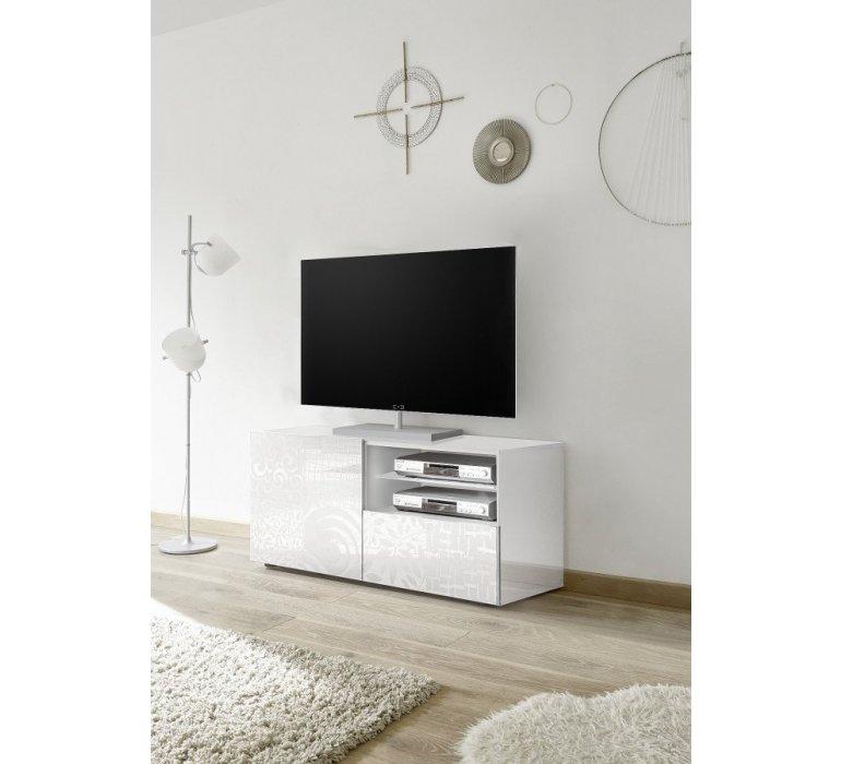 Meuble TV blanc laqué avec motifs design VINTIMILLE