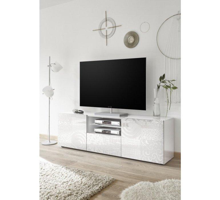 Banc TV blanc laqué avec motifs design VINTIMILLE