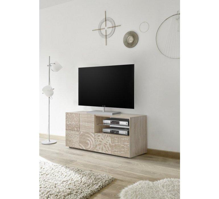 Meuble TV beige avec motifs moderne NATURA