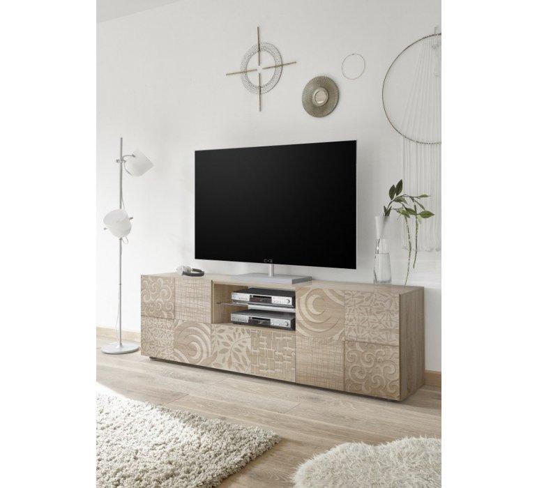 Banc TV beige avec motifs moderne NATURA