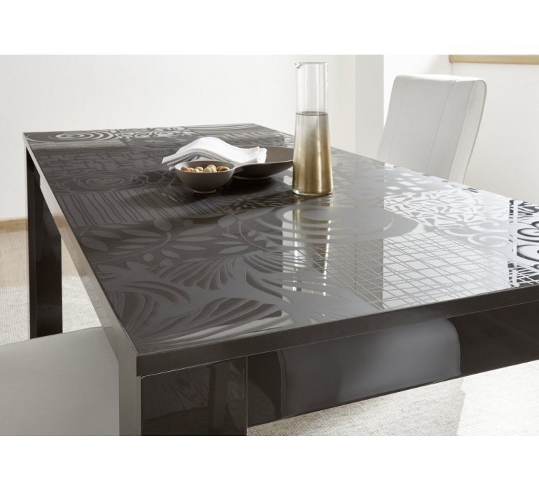 Table à manger anthracite laqué avec motifs design MARANELLO