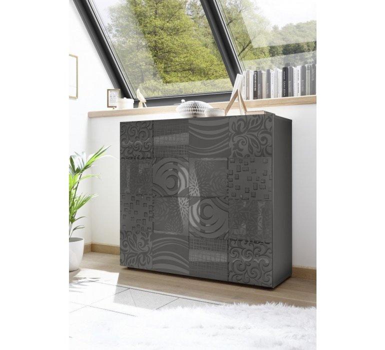 Buffet haut design anthracite laqué avec motifs MARANELLO