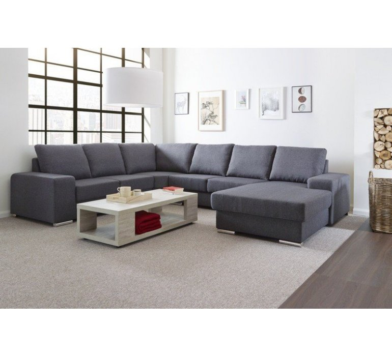 Canapé d'angle en tissu gris design LUCIANO