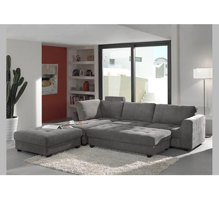 Canapé d'angle effet capitonné tissu gris moderne WANDA