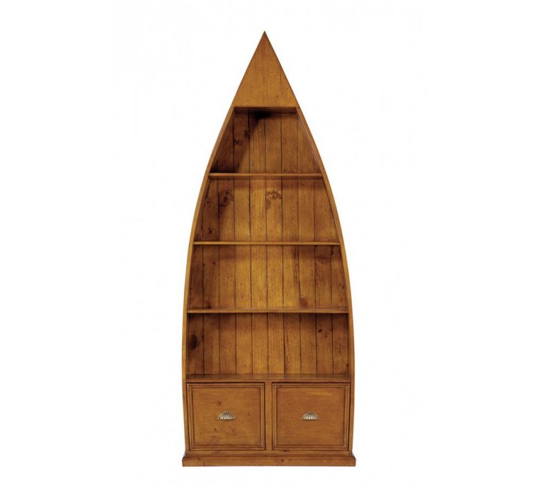 Bibliothèque bateau bois massif coloris noyer COLONIAL