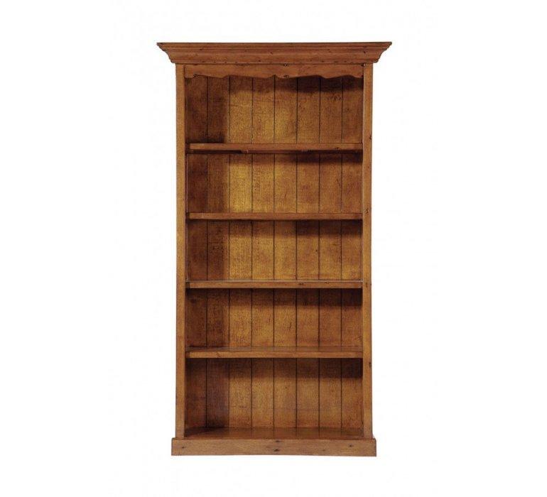 Bibliothèque avec corniche bois massif coloris noyer COLONIAL