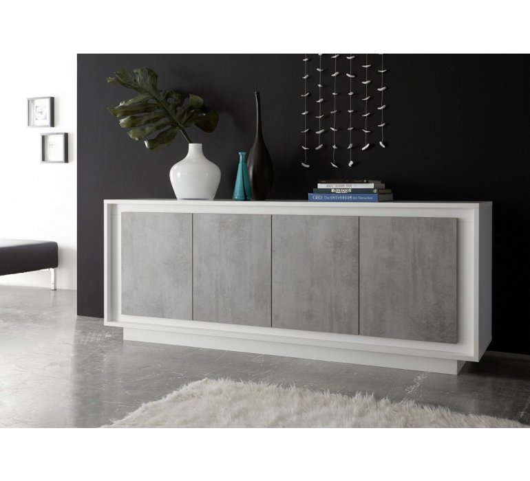 Enfilade blanc laqué et gris moderne GREY