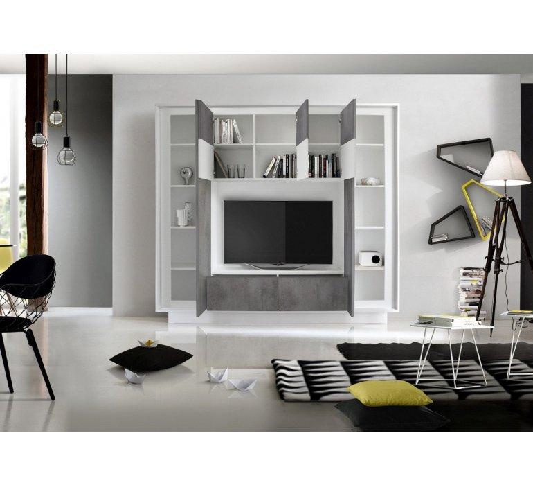 Mur TV blanc laqué et gris moderne GREY