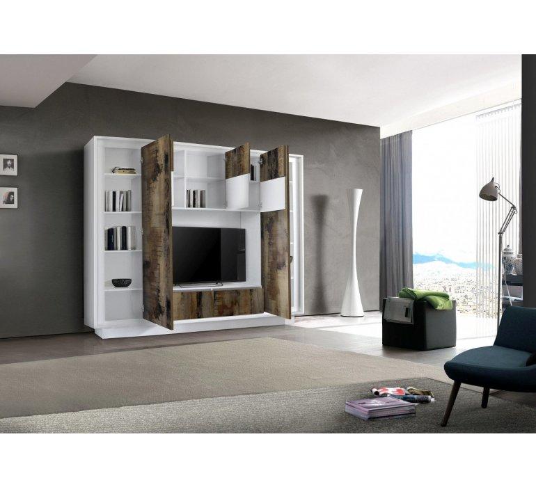 Mur TV blanc laqué et effet bois vieilli moderne FAUVE