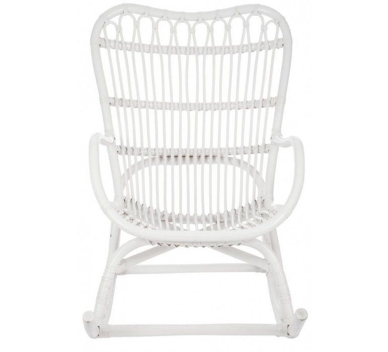 Rocking-chair rotin blanc FARNIENTE
