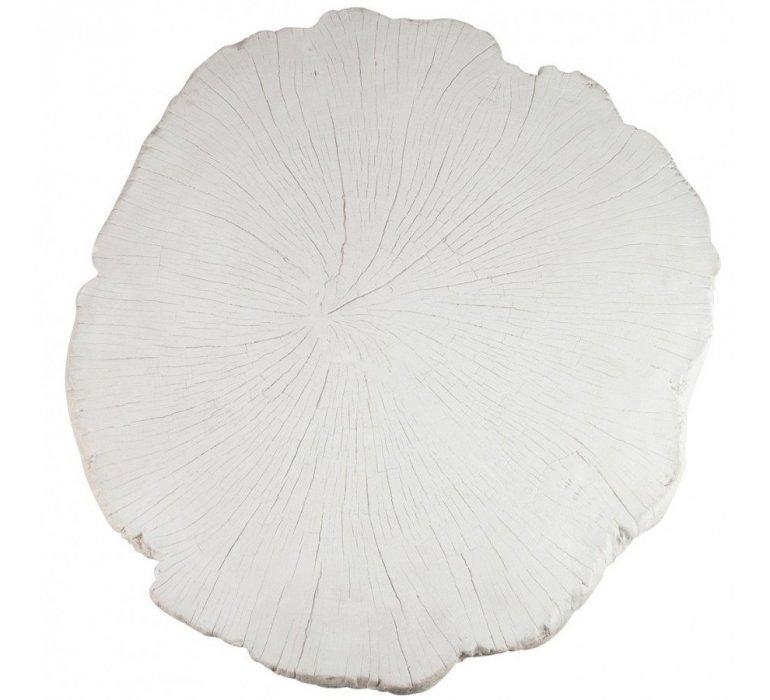 Table basse résine blanc effet tronc FECAMP