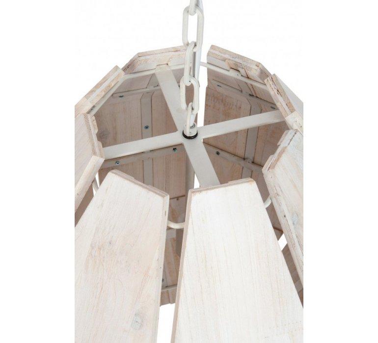 Suspension bois et métal blanc style cottage BREST