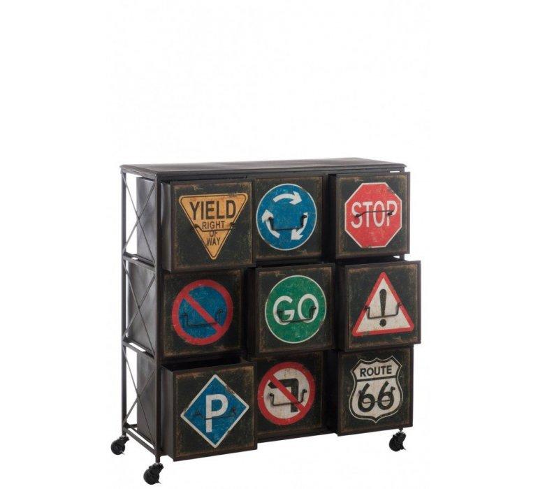 Commode sur roulettes métal industriel SIGNALITIK
