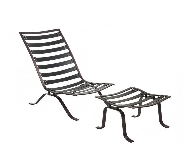 Fauteuil lounge avec repose pied cuir marron WALTER
