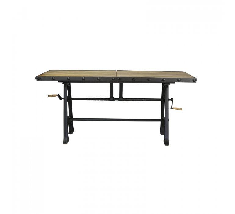 Table à manger industrielle avec rallonges bois massif et métal IRON