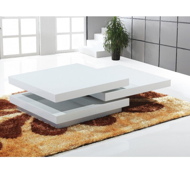 Table basse carrée blanc laqué design ROMINI