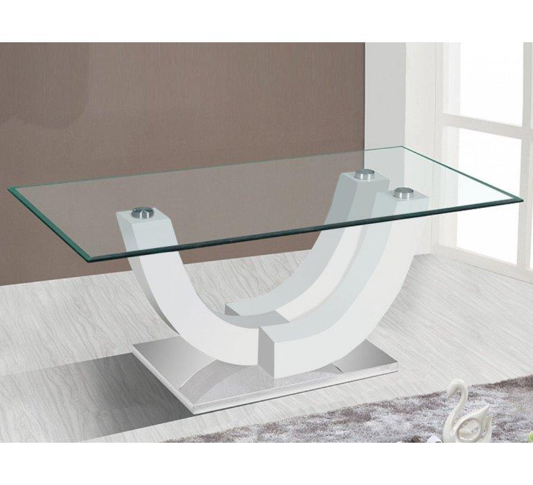 Table basse verre et blanc laqué design BELINDA