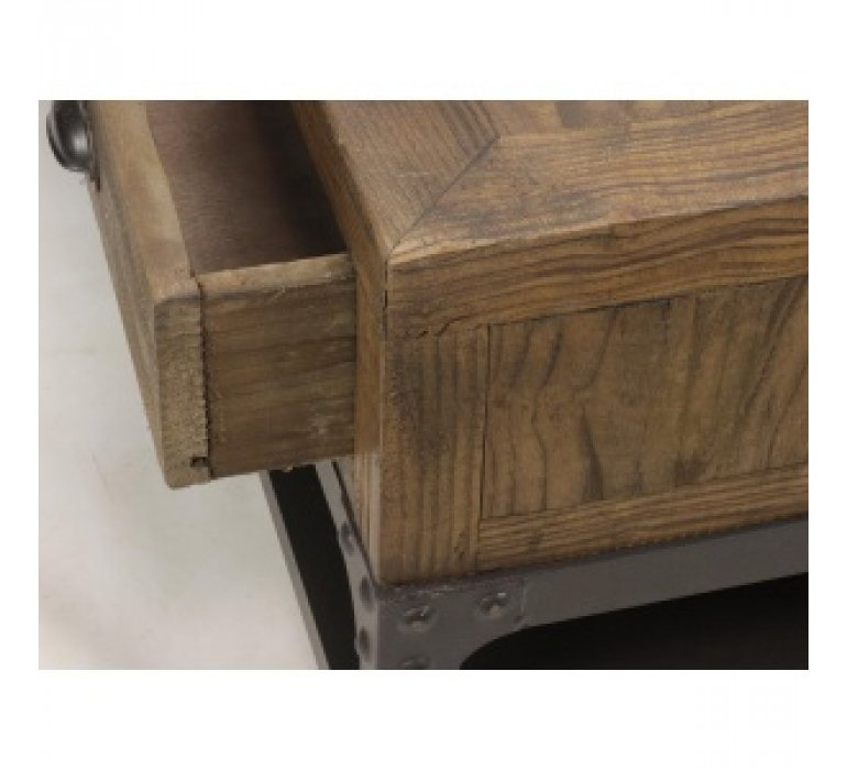 Table basse bois massif industrielle apothicaire 6 tiroirs OAKLAND