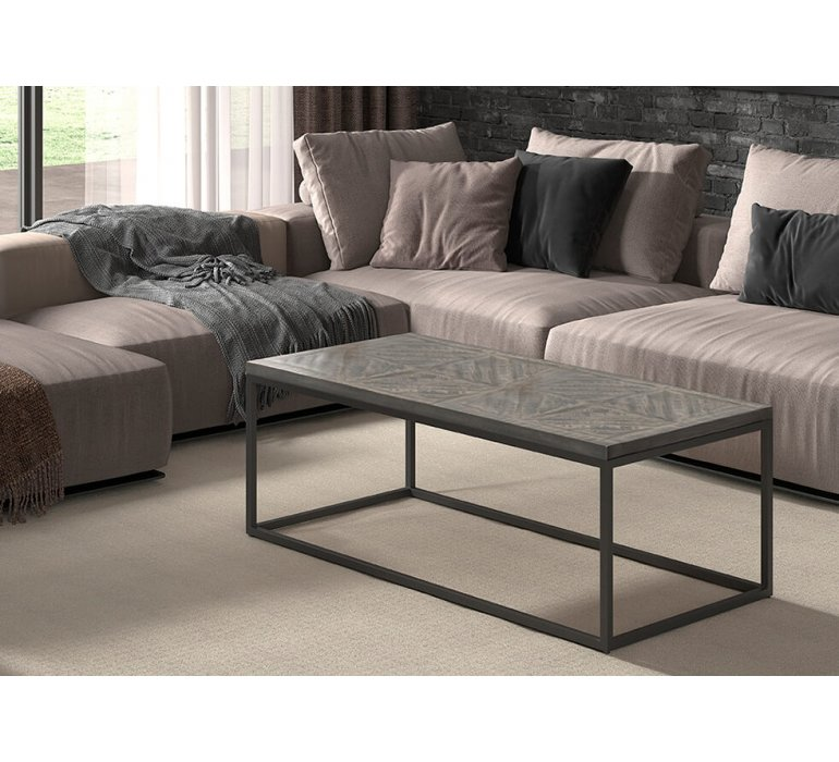 Table basse bois massif grisé motif chevron 120 cm BUMIN