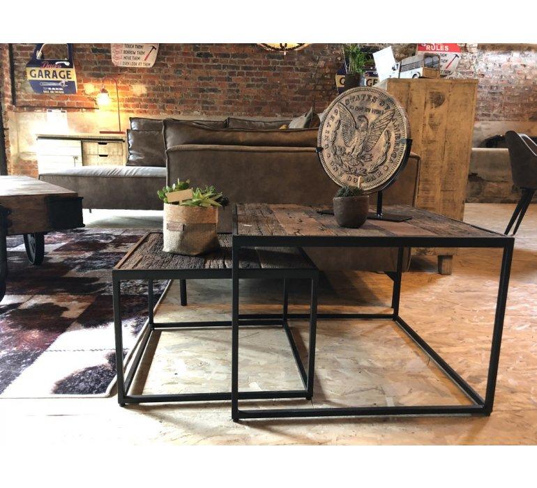 Table basse carrée gigogne industrielle JERSEY