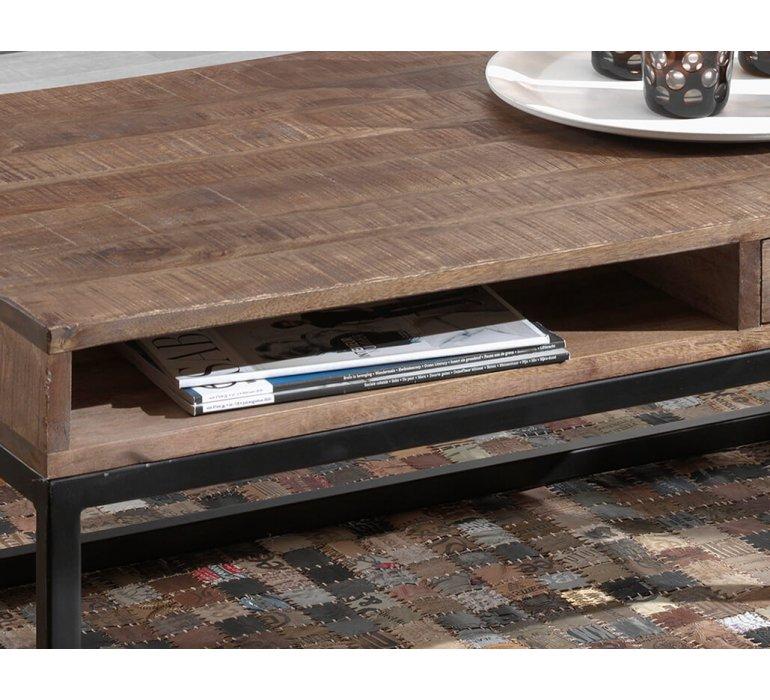 Table basse en bois massif industrielle 1 tiroir VICTOR