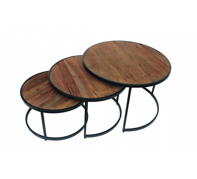 Table basse gigogne industrielle bois et métal JERSEY
