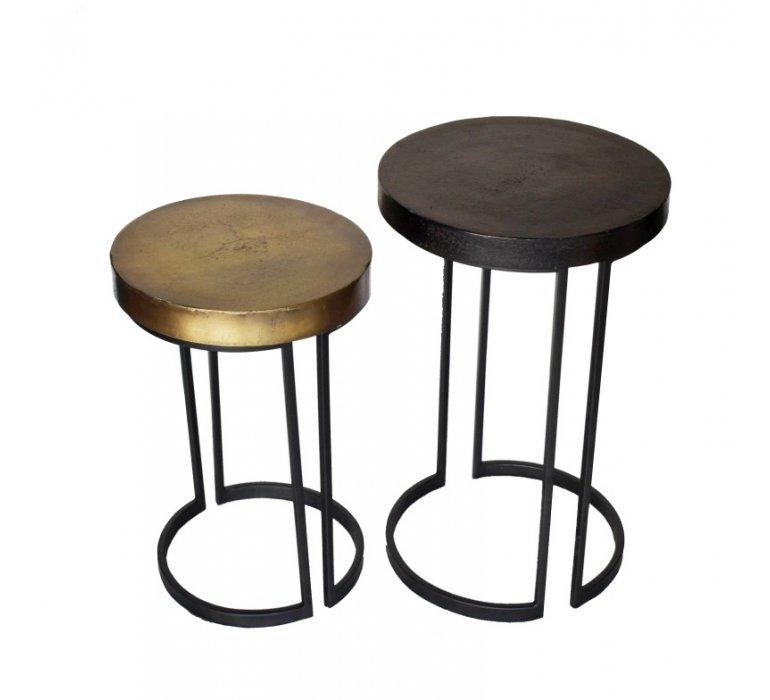 Table basse gigogne ronde en métal modern EVE