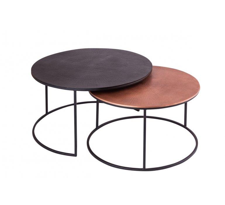 Table basse gigogne ronde en métal moderne ROVA