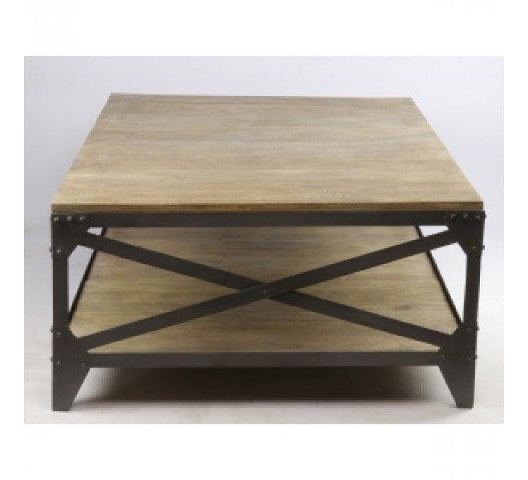 Table basse industriel bois massif et métal RIVET