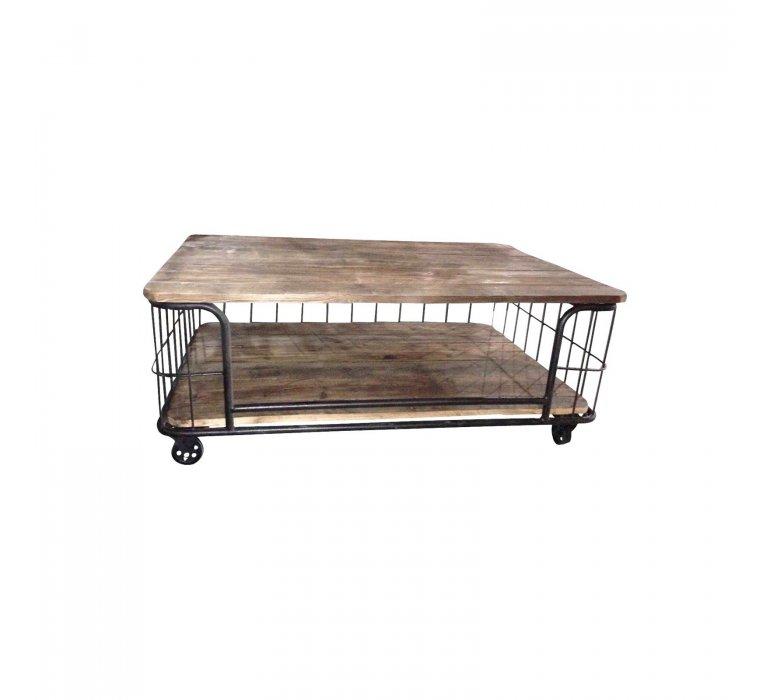 Table basse industriel bois massif sur roulettes effet cage BIRD
