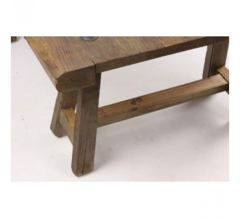 Table basse industrielle bois recyclé avec piétement tréteaux COFFEE