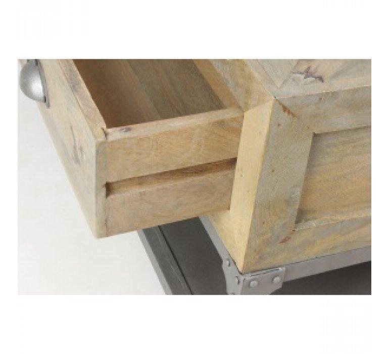 Table basse industrielle bois massif et métal 4 tiroirs TAYLOR