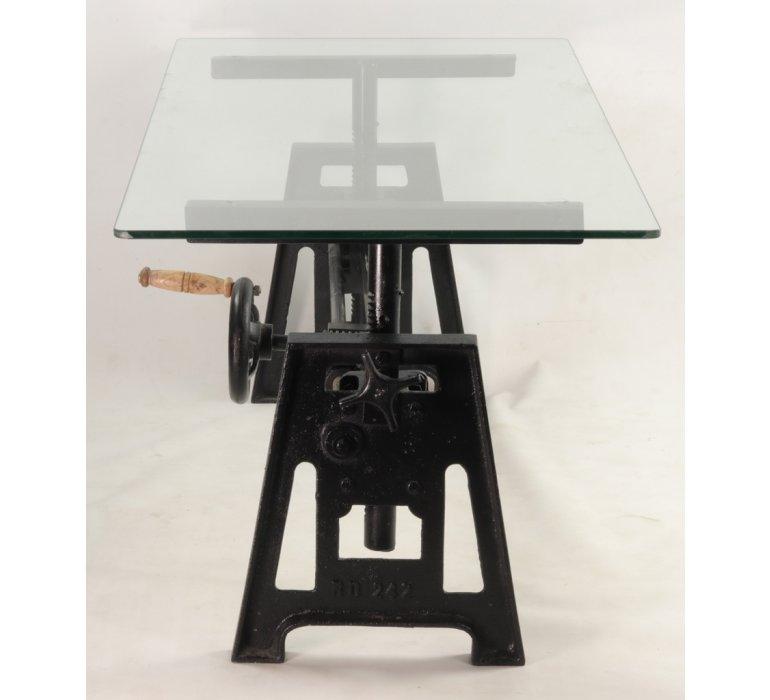 Table basse industrielle manivelle verre et métal JEFFERSON
