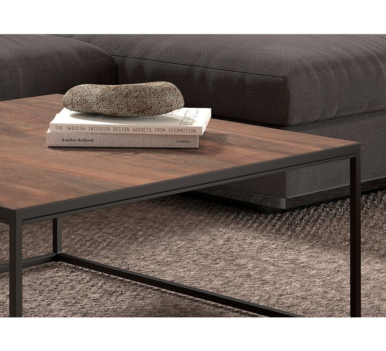 Table basse carrée en bois massif et métal style industriel JANE
