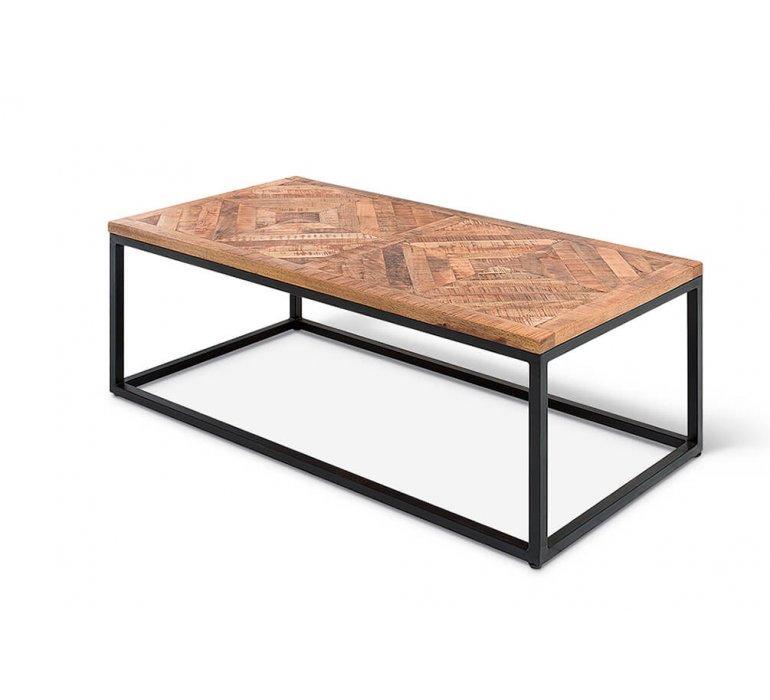 Table basse motif chevron en bois massif et métal MANHAY