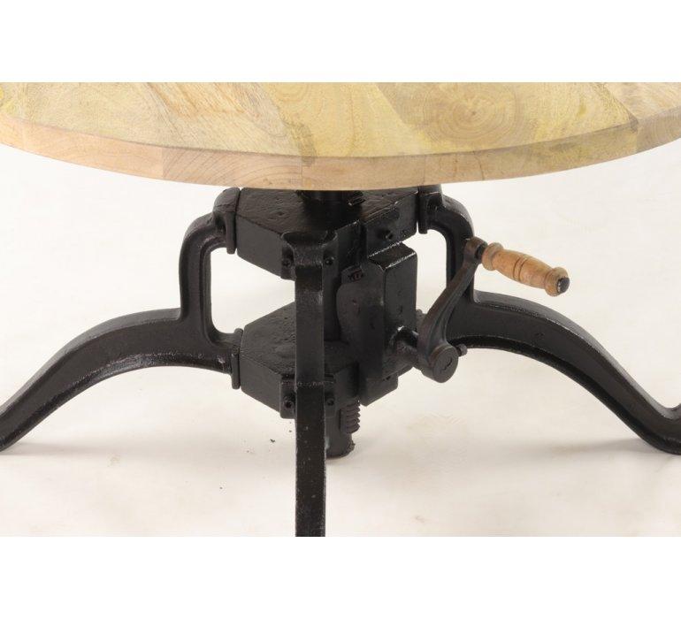 Table basse ronde bois et métal industrielle à manivelle SQUARE