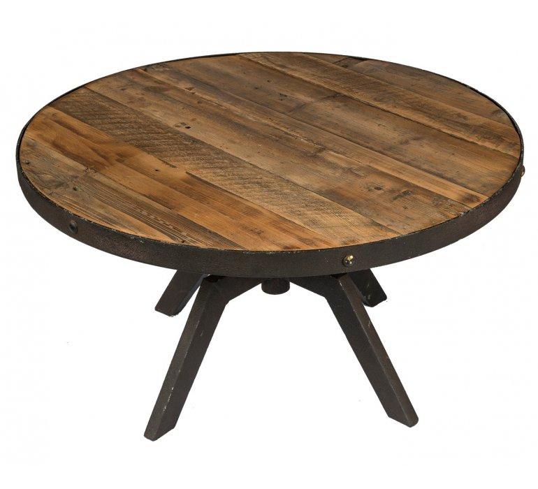 Table basse ronde industrielle bois et métal réglable JERSEY