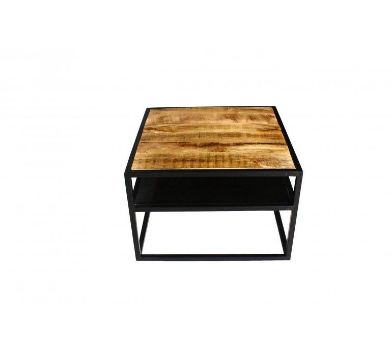 Table basse carrée industrielle en bois massif manguier et métal JANE