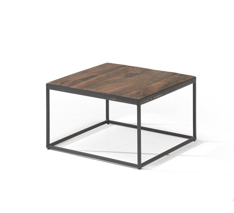 Table de salon carrée en bois massif et métal noir JANE