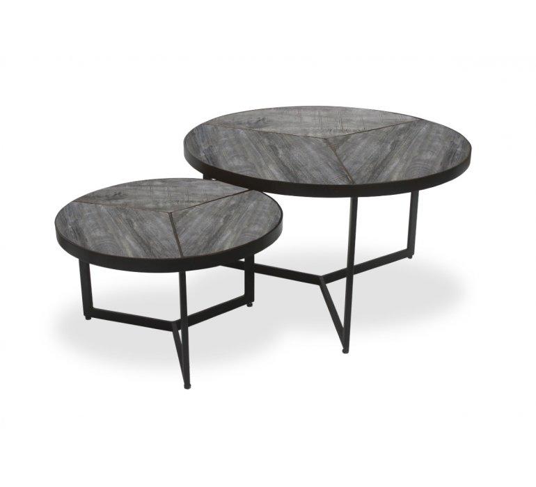 Table gigogne ronde industrielle bois et métal PHENIX