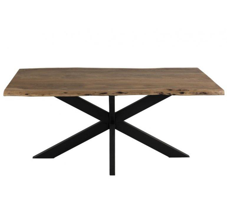 Table industrielle bois massif bords irréguliers et métal KAMILLE