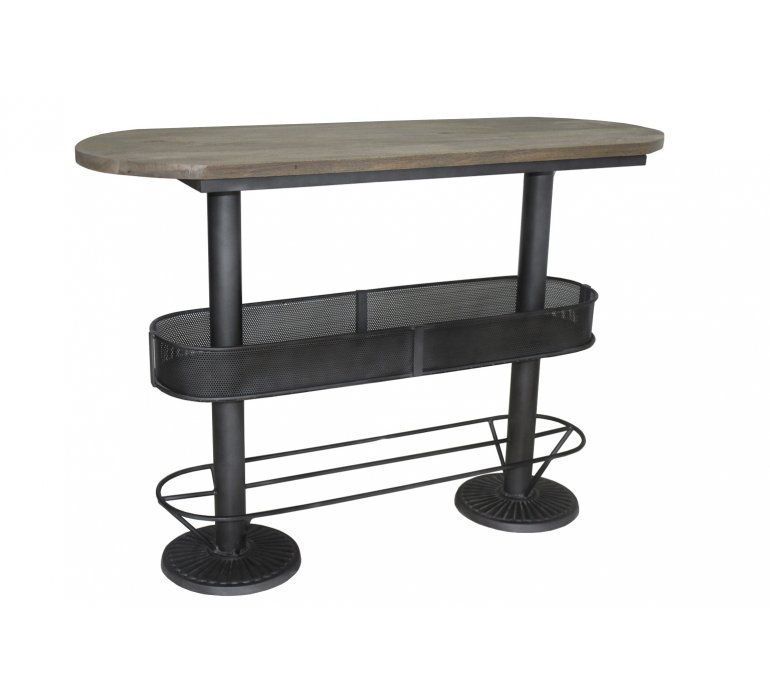 Table mange debout industrielle bois manguier et métal 155cm DAKOTA