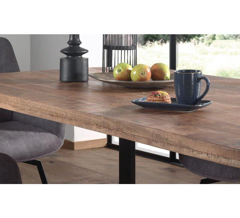Table à manger en bois massif 180 cm avec piétement métal LOUIS