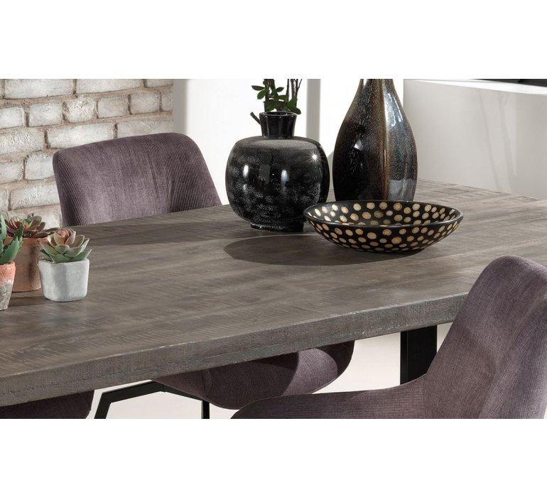 Table à manger en bois massif grisé 180 cm style industriel JEAN