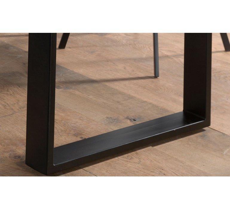 Table à manger 200 cm en bois massif grisé industrielle VICTOR